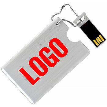 Флешка-карточка металлическая под логотип 8  Гб (1029-8-Гб)