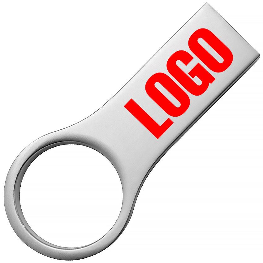 Флешка с логотипом металл матовый серебро 16 Гб (0495-1-16-Гб)