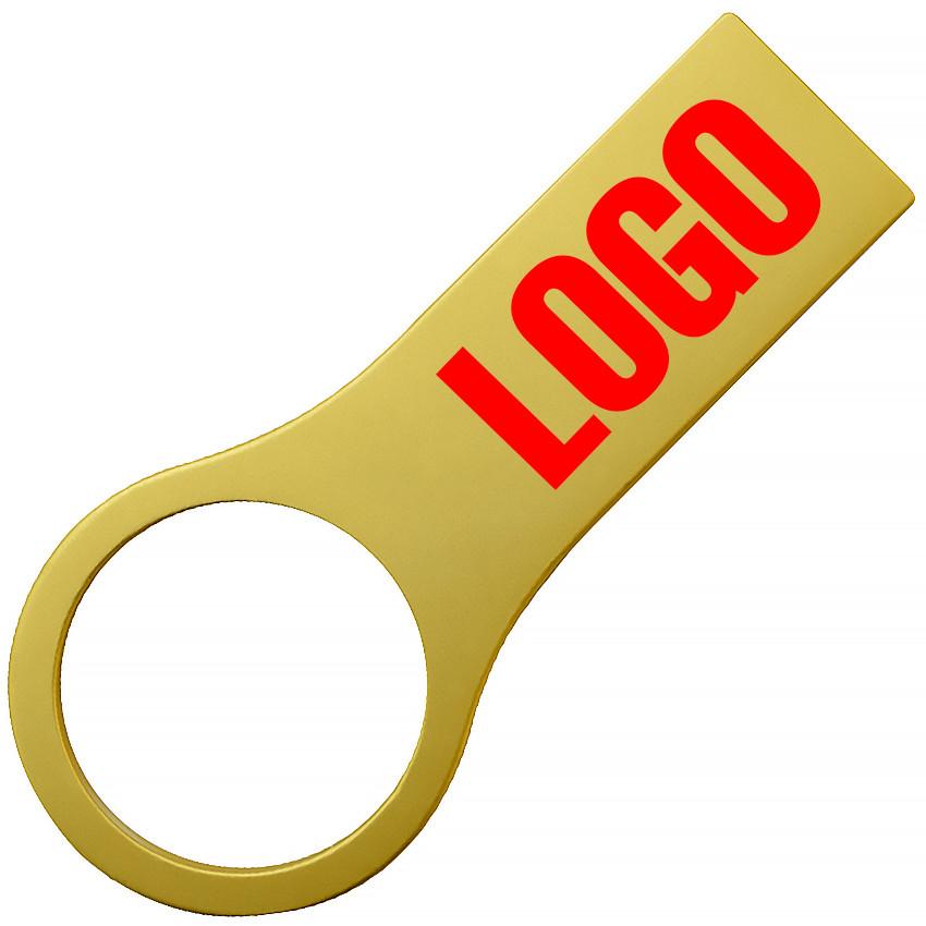 Флешка металл матовый золото с нанесением 8 Гб (0495-3-8-Гб)