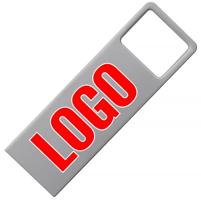 Флешка металлическая матовая серебро с логотипом 16 Гб (0496-1-16-Гб)