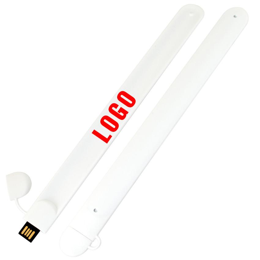 Флешка-браслет под нанесение белая 8 Гб (0993-1-8-Гб)
