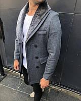 Зимнее мужское темно-серое пальто