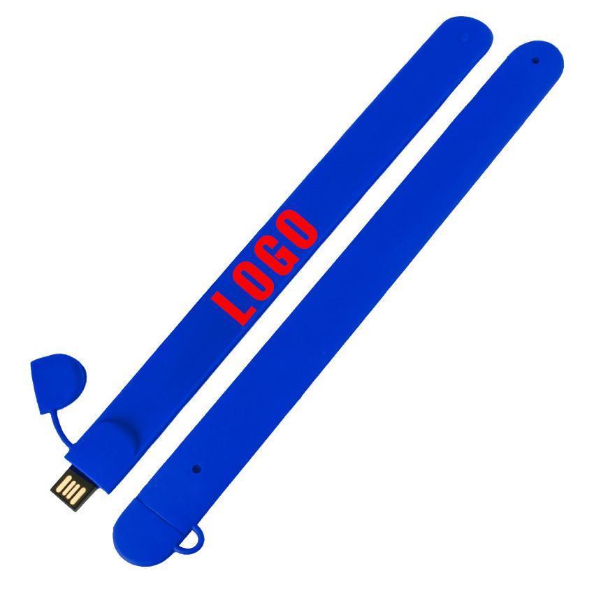 Флешка браслет под печать синяя 4 Гб (0993-3-4-Гб)