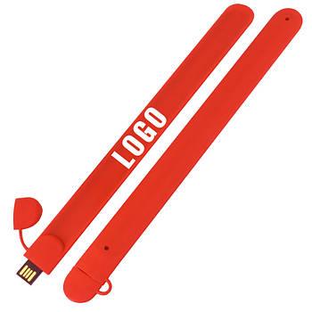 Флешка браслет под логотип красная 16 Гб (0993-4-16-Гб)