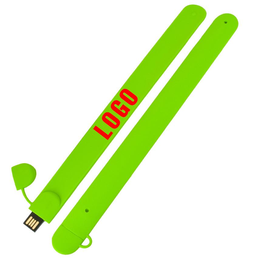 Флешка-браслет под логотип зеленая 16 Гб (0993-5-16-Гб)