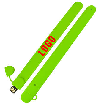 Флешка-браслет под логотип зеленая 64 Гб (0993-5-64-Гб)