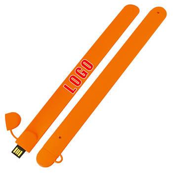 Флешка в виде браслета под нанесение оранжевая 8 Гб (0993-6-8-Гб)