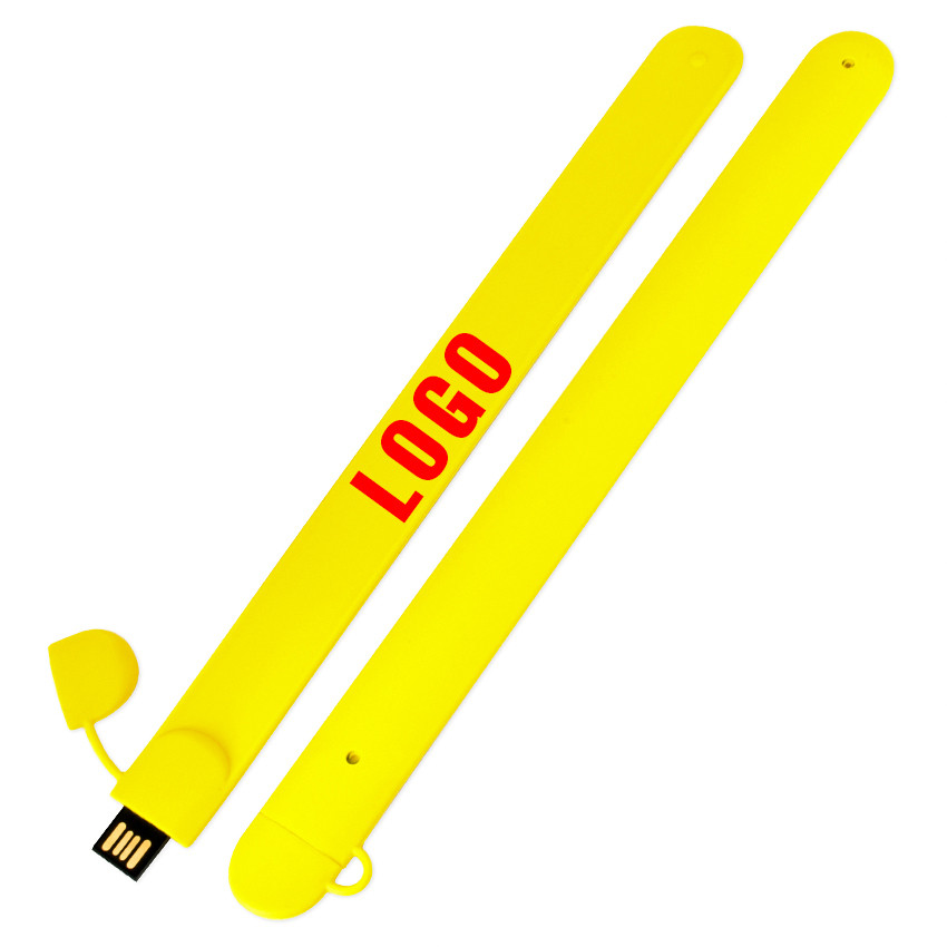 Флешка в виде браслета для шелкотрафарета желтая 32 Гб (0993-7-32-Гб)