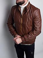 Мужская кожаная куртка (Коричневая)