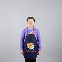 Фартук с нарукавниками детский для трудов, рисования, кухни - темно-синий цвет (совы)