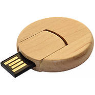 Флешка деревянная круглая под печать лого 16 Гб (0247-16-Гб), фото 2