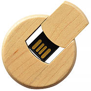 Флешка деревянная круглая под печать лого 16 Гб (0247-16-Гб), фото 4