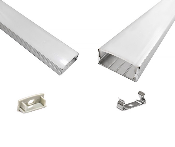 Профиль алюминиевый ПФ25 24х10 (комплект профиль+линза), 2м