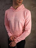 Худи мужское толстовка свитшот с капюшоном весенний осенний розовая, фото 1