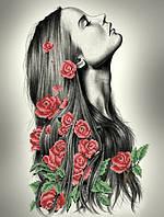 """Схема для вышивки бисером на габардине """"Девушка в розах"""""""
