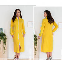 / Размер50-52,54-56,58-60,62-64 / Женское стильное платье на каждый день в спортивном стиле / 807-Желтый