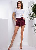 Комплект: Бордовые шорты с поясом оборкой + топ с жемчугом