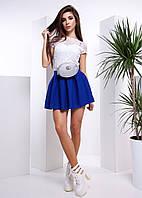 Комплект: Гипюровый белый топ и синяя юбка в складку
