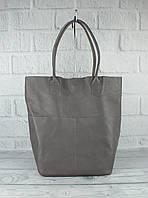 Кожаная сумка-шоппер с клатчем внутри Vera pelle 2557 серая, Италия, фото 1