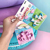 Ластики единороги и радуга (розовые, голубые)
