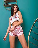 Пижама женская Фламинго (розовые шорты)