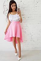 Комплект: Розовая ассиметричная юбка  и  майка с двойной оборкой