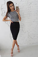Комплект: Топ в орнамент и черная юбка карандаш