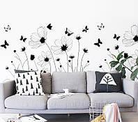 Интерьерная наклейка на стену Полевые Цветы
