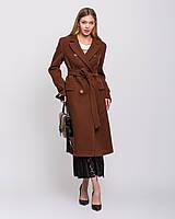 Женское пальто макси двубортное цвет бронза рр 44-54