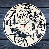 Часы настенные из дерева «Лошади», фото 1