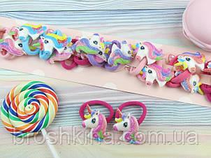 Детские резиночки для волос Единороги 10 пар/уп.