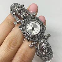 Часы из капельного серебра 925 Beauty Bar тигры с розовыми глазами и и камнями марказитами (Римские цифры), фото 1