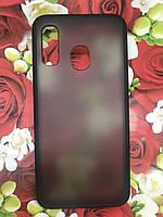 Чехол бампер накладка на Samsung A40 2019 (A405F) противоударный цветная окантовка черный красные кнопки