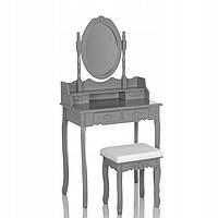 Туалетный столик Wooden Dresser C4 серый + табурет (9203)