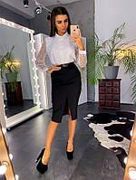 Комплект: Черная юбка с разрезом и блузка с рукавами из сетки - добби
