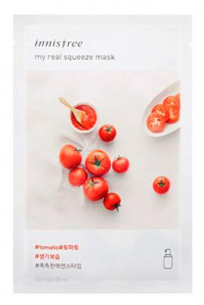 Осветляющая и очищающая тканевая маска Innisfree my real squeeze mask Томат