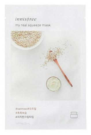 Зволожуюча тканинна маска для обличчя Innisfree my real squeeze mask Екстракт вівса 20 мл
