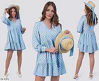 Модное свободное платье в горошек арт 5807
