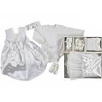 Набор с платьем для новорожденной девочки на выписку крещение в коробке Турция белый 260573
