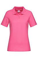 Футболка поло женская розовая с воротником Stedman - SPKСТ3100