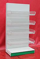 """Торговый стеллаж с корзинами """"Колумб"""" 200х101 см., светло-серый, Б/у"""