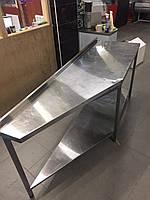 Стіл бортом та поличкою нержавіюча сталь