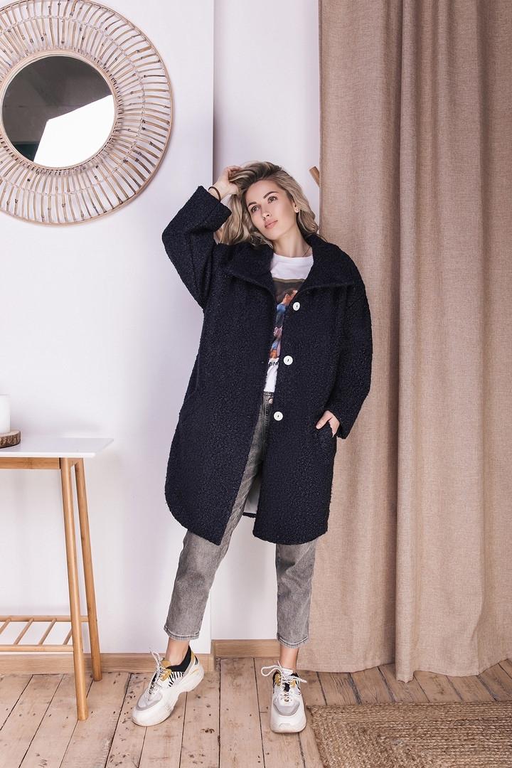 Пальто жіноче букле оверсайз розмір 42-52 темно-синє
