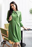 Зеленое платье А-силуэта. Модель 24003. Размеры 42-48