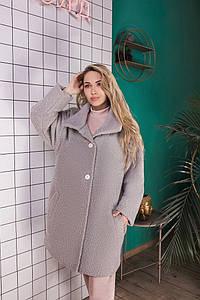 Женское пальто букле оверсайз размер 42-52 серое