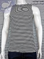 Майка тельняшка вязаное черная полоса по ГОСТу