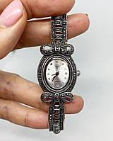 Годинник з крапельного срібла 925 Beauty Bar з камінням марказит з бантиком
