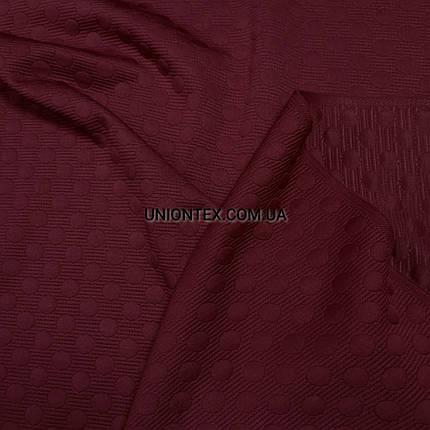 Трикотаж стеганный горохи бордовый РАСПРОДАЖА, фото 2