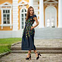 Женское льняное платье вышиванка Клер синяя