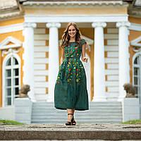 Женское льняное платье вышиванка Клер зеленое